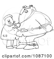 Clipart Outlined Boy Pulling Santas Beard Royalty Free Vector Illustration