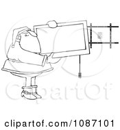 Clipart Outlined Santa Installing A Wall Mount Tv Royalty Free Vector Illustration by djart