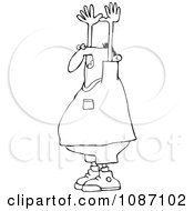 Clipart Outlined Held Up Man Royalty Free Vector Illustration