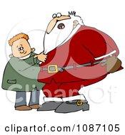 Clipart Boy Pulling Santas Beard Royalty Free Vector Illustration