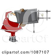 Clipart Santa Installing A Wall Mount Tv Royalty Free Vector Illustration
