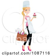 Clipart Blond Chef Woman Carrying A Cupcake Royalty Free Vector Illustration