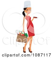 Clipart Black Chef Woman Carrying A Bag Of Groceries And A Platter Royalty Free Vector Illustration