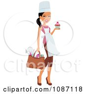 Clipart Black Chef Woman Carrying Her Gear And A Cupcake Royalty Free Vector Illustration by Monica #COLLC1087118-0132