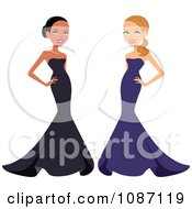 Clipart Black And White Women Posing In Formal Gowns Royalty Free Vector Illustration