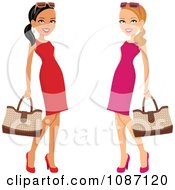 Clipart Hispanic And Caucasian Ladies Posing In Dresses With Purses Royalty Free Vector Illustration