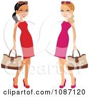 Hispanic And Caucasian Ladies Posing In Dresses With Purses