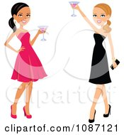 Clipart Black And White Women Toasting In Dresses Royalty Free Vector Illustration