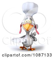 3d White Chef Chicken Holding A Plate 2