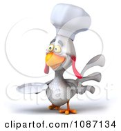 3d White Chef Chicken Holding A Plate 3