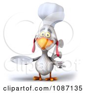 3d White Chef Chicken Holding A Plate 4