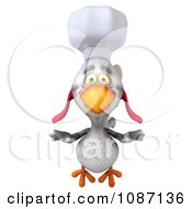3d White Chef Chicken Flying Forward