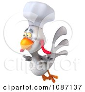 3d White Chef Chicken Flying Left