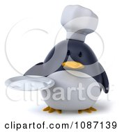 Clipart 3d Penguin Chef Holding A Plate 1 Royalty Free CGI Illustration