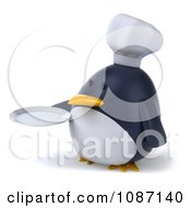 Clipart 3d Penguin Chef Holding A Plate 2 Royalty Free CGI Illustration