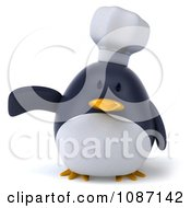 Clipart 3d Penguin Chef Presenting Royalty Free CGI Illustration
