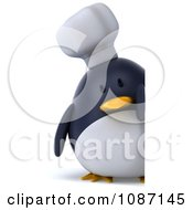 Clipart 3d Penguin Chef Holding A Sign 2 Royalty Free CGI Illustration