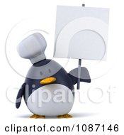 Clipart 3d Penguin Chef Holding A Sign 3 Royalty Free CGI Illustration