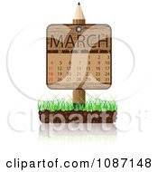 Clipart Wooden Pencil MARCH Calendar Sign With Soil And Grass Royalty Free Vector Illustration