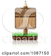 Clipart Wooden Pencil NOVEMBER Calendar Sign With Soil And Grass Royalty Free Vector Illustration