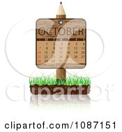 Clipart Wooden Pencil OCTOBER Calendar Sign With Soil And Grass Royalty Free Vector Illustration