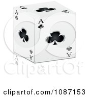 Clipart 3d Ace Of Clubs Cube With A Reflection Royalty Free Vector Illustration by Andrei Marincas