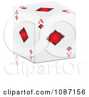 Clipart 3d Ace Of Diamonds Cube With A Reflection Royalty Free Vector Illustration