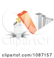 Clipart 3d Crashing Bar Graph Pounding A Person With A Dollar Box Head Royalty Free Vector Illustration by Andrei Marincas