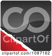 Clipart Carbon And Torn Red Paper Rounded Square Royalty Free Vector Illustration