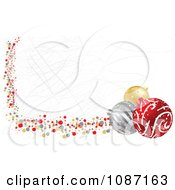 Clipart Scratched Christmas Website Banner With Baubles Royalty Free Vector Illustration