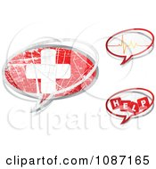Clipart Three Medical Chat Balloons Royalty Free Vector Illustration