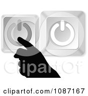 Clipart Silhouetted Hand With Silver Power Buttons Royalty Free Vector Illustration by Andrei Marincas