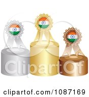 Clipart Indian Rosette Award Ribbons On Podiums Royalty Free Vector Illustration