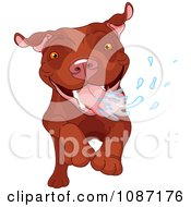 Clipart Excited Brown Pit Bull Dog Running And Drooling Royalty Free Vector Illustration