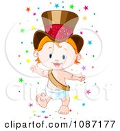 Happy New Year Baby Wearing A Gold Top Hat And Surrounded By Stars