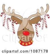 Clipart Rudolph The Christmas Reindeer With Candy Canes Hanging From His Antlers Royalty Free Vector Illustration