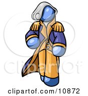 Blue George Washington Character Clipart Illustration by Leo Blanchette