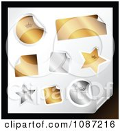 Clipart 3d Peeling Gold And Silver Rectangle Round Square And Star Stickers Royalty Free Vector Illustration by TA Images