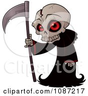 Small Grim Reaper With A Cracked Skull And Black Cloak