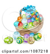 Clipart 3d Bow On A Holiday Easter Basket With Eggs Royalty Free Vector Illustration