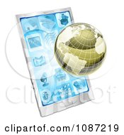 Clipart 3d Metallic Globe And Rays Over A Cell Phone Royalty Free Vector Illustration