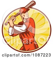 Clipart Retro Baseball Player Batting Over Rays Royalty Free Vector Illustration by patrimonio
