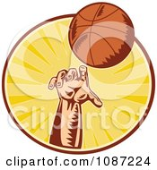Clipart Retro Basketball Player Throwing A Ball Over Rays Royalty Free Vector Illustration by patrimonio