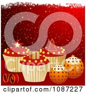 Clipart Red And Gold Christmas Background With 3d Cupcakes And Baubles Royalty Free Vector Illustration by elaineitalia