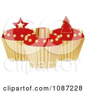 Clipart 3d Red And Gold Christmas Cupcakes With A Star Gift And Tree Royalty Free Vector Illustration