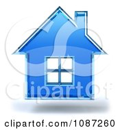 Clipart 3d Blue Glass House Floating On A White Background Royalty Free CGI Illustration