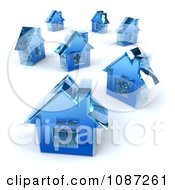 Clipart 3d Blue Glass Houses Royalty Free CGI Illustration by Julos