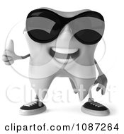 Clipart 3d Thumbs Up Cool Dental Tooth Wearing Sunglasses 1 Royalty Free CGI Illustration