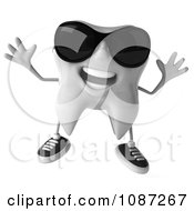 Clipart 3d Cool Jumping Dental Tooth Wearing Sunglasses Royalty Free CGI Illustration