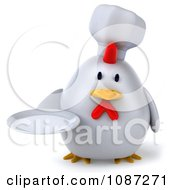 Clipart 3d Chubby Chef Chicken Holding A Plate 1 Royalty Free CGI Illustration